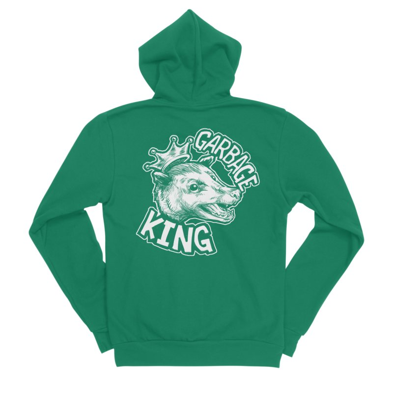 Garbage King (White) Women's Sponge Fleece Zip-Up Hoody by Octophant's Artist Shop