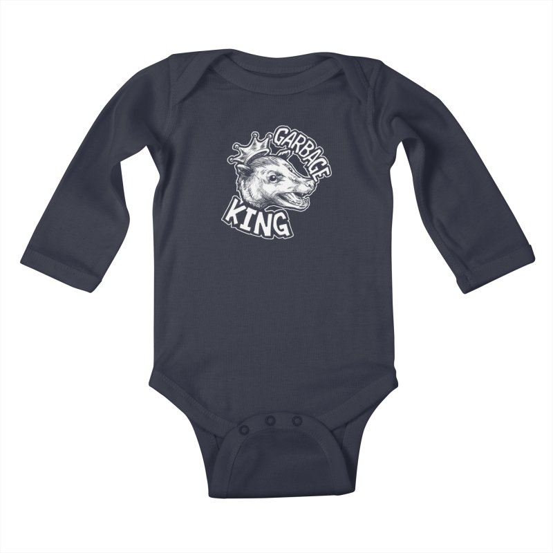 Garbage King (White) Kids Baby Longsleeve Bodysuit by Octophant's Artist Shop