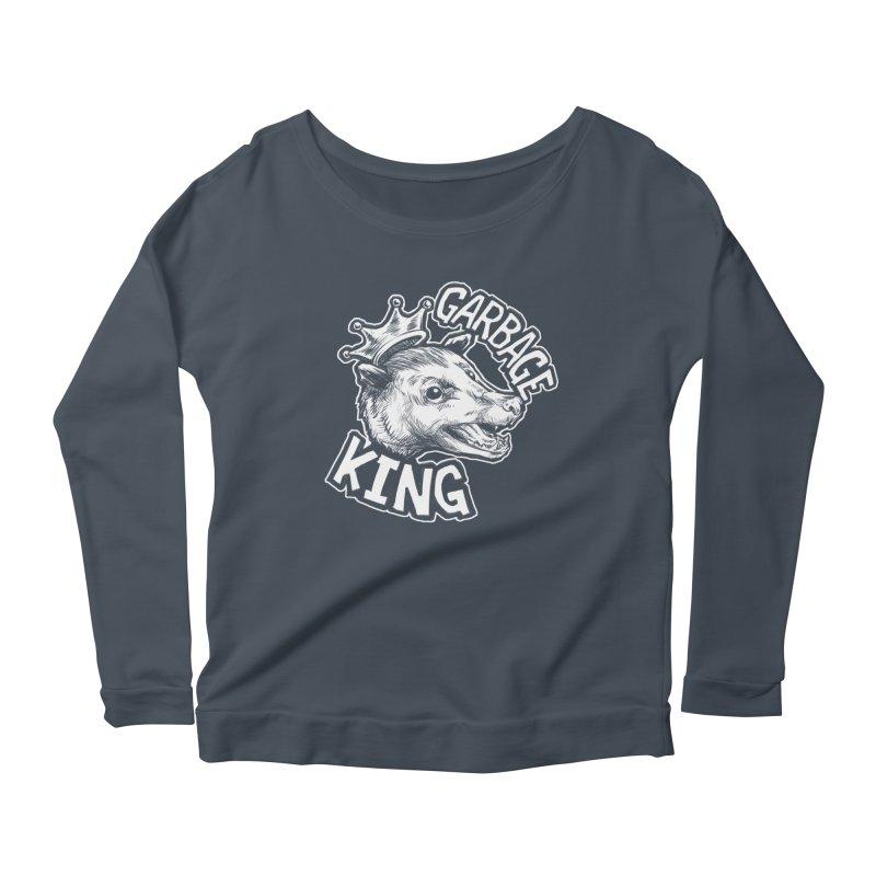 Garbage King (White) Women's Scoop Neck Longsleeve T-Shirt by Octophant's Artist Shop