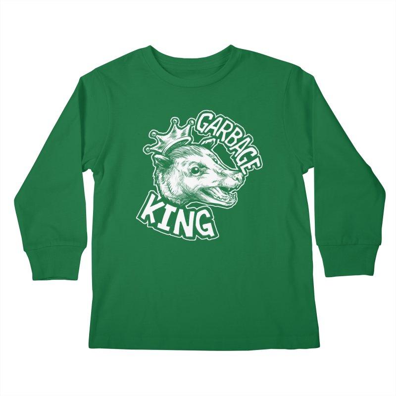 Garbage King (White) Kids Longsleeve T-Shirt by Octophant's Artist Shop