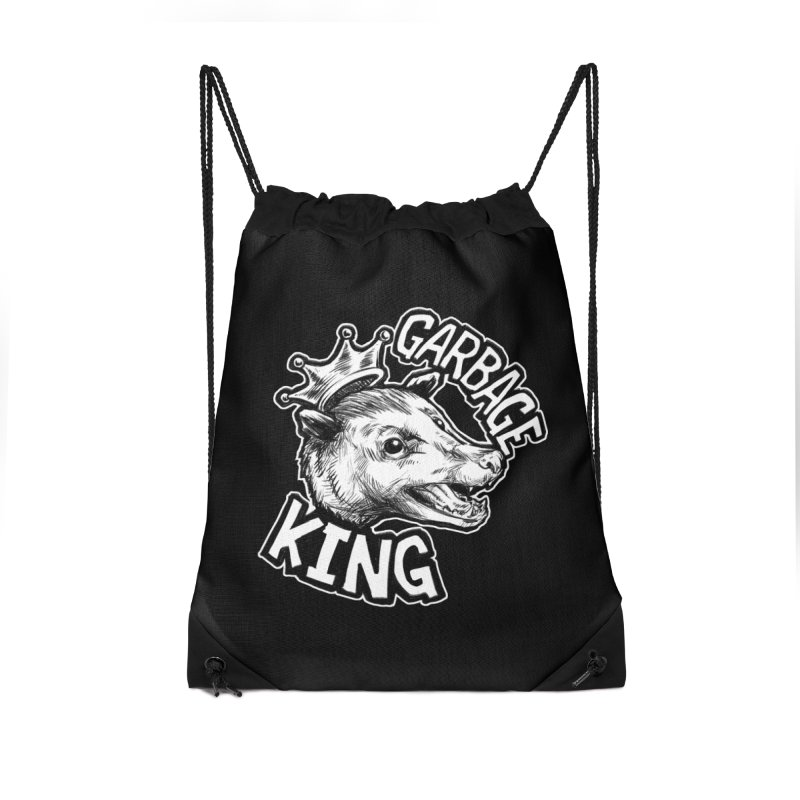 Garbage King (White) Accessories Drawstring Bag Bag by Octophant's Artist Shop