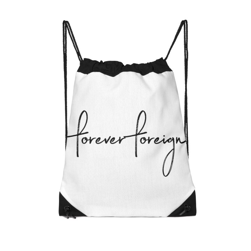 Forever Foreign- Black Text Accessories Bag by octopy