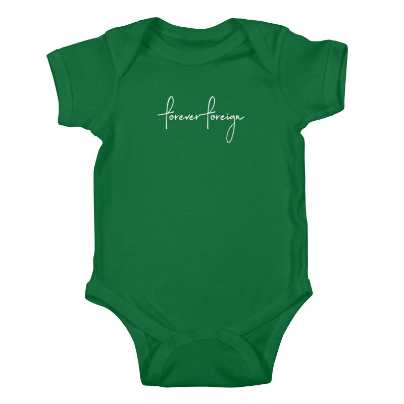 Forever Foreign- White Text Kids Baby Bodysuit by octopy