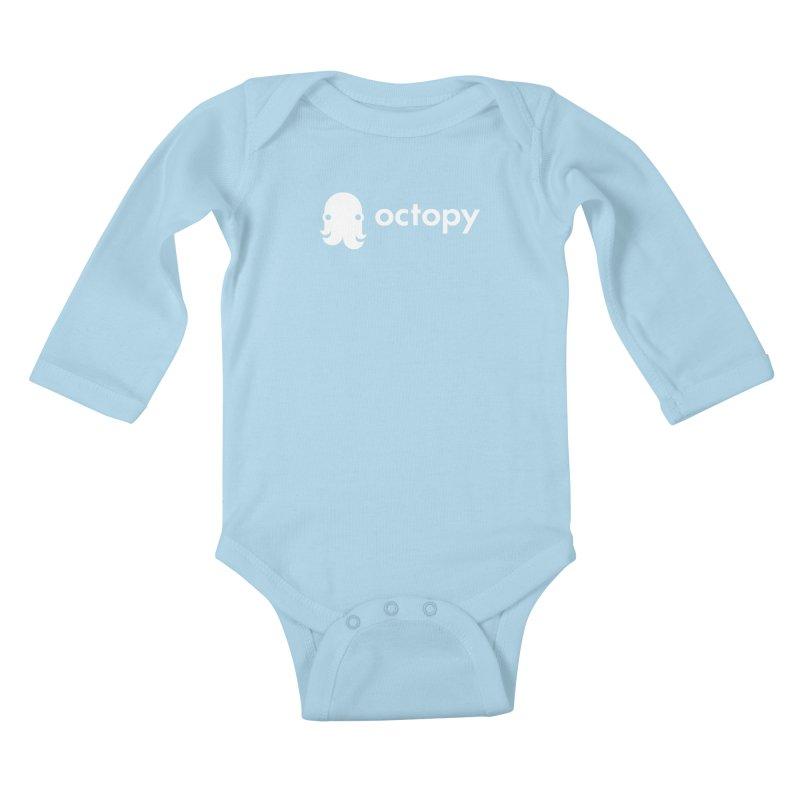 Octopy Logo White Kids Baby Longsleeve Bodysuit by octopy