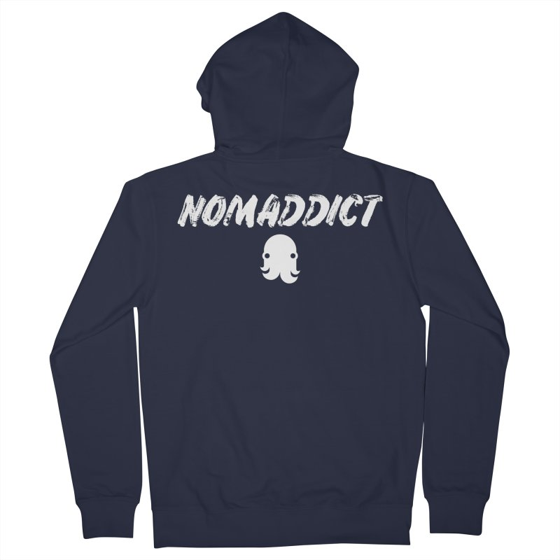 Nomaddict (White Text) Women's Zip-Up Hoody by octopy
