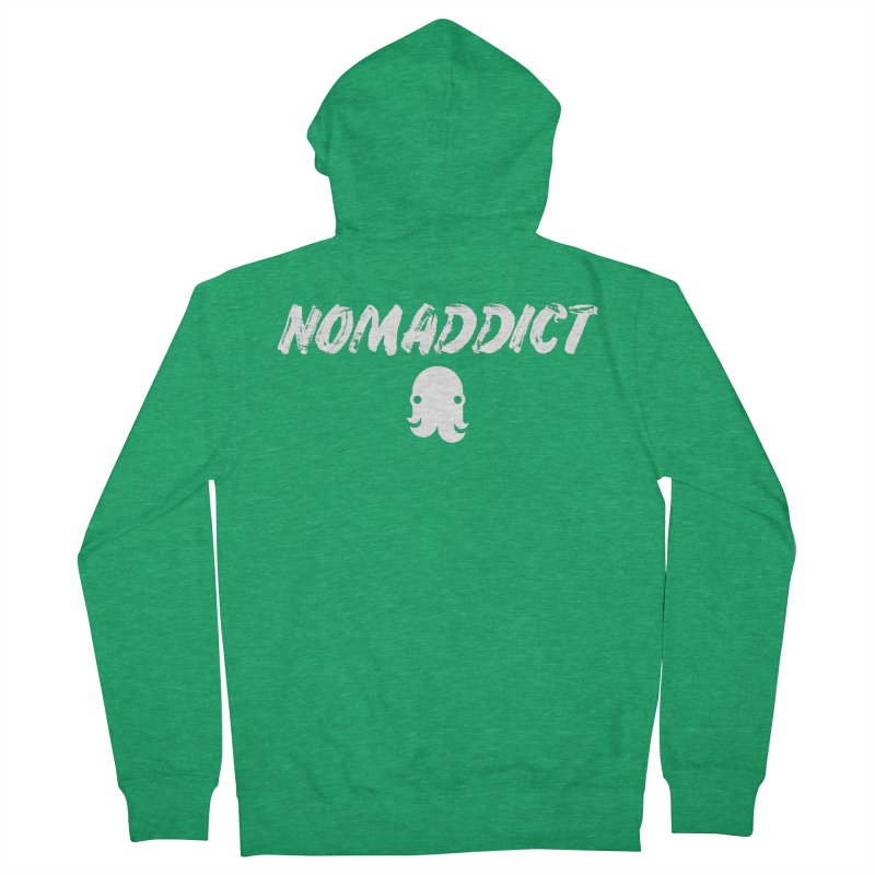 Nomaddict (White Text) Men's Zip-Up Hoody by octopy