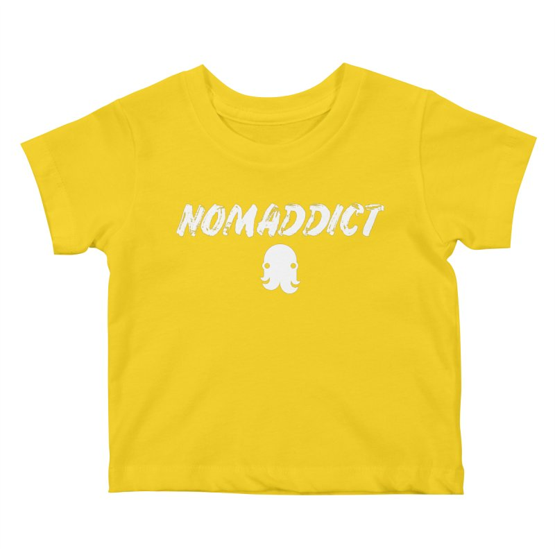 Nomaddict (White Text) Kids Baby T-Shirt by octopy