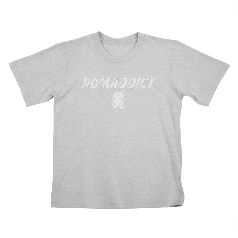 Nomaddict (White Text) Kids T-Shirt by octopy