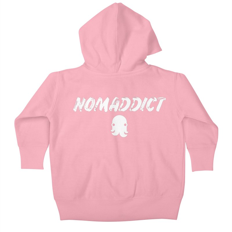 Nomaddict (White Text) Kids Baby Zip-Up Hoody by octopy
