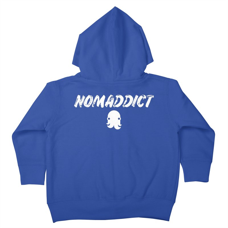Nomaddict (White Text) Kids Toddler Zip-Up Hoody by octopy
