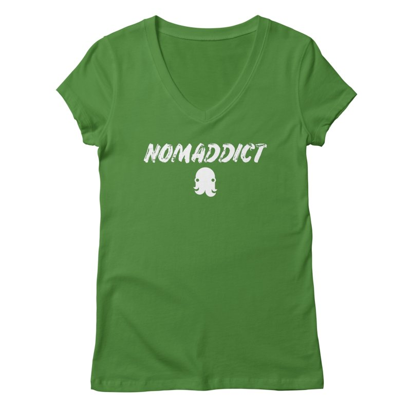 Nomaddict (White Text) Women's V-Neck by octopy
