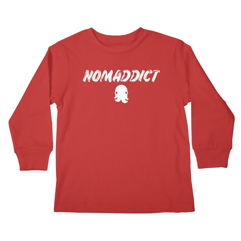 Nomaddict (White Text) Kids Longsleeve T-Shirt by octopy