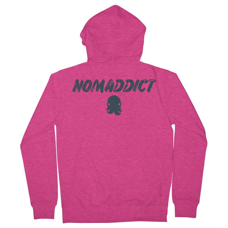 Nomaddict (Navy Text) Women's Zip-Up Hoody by octopy