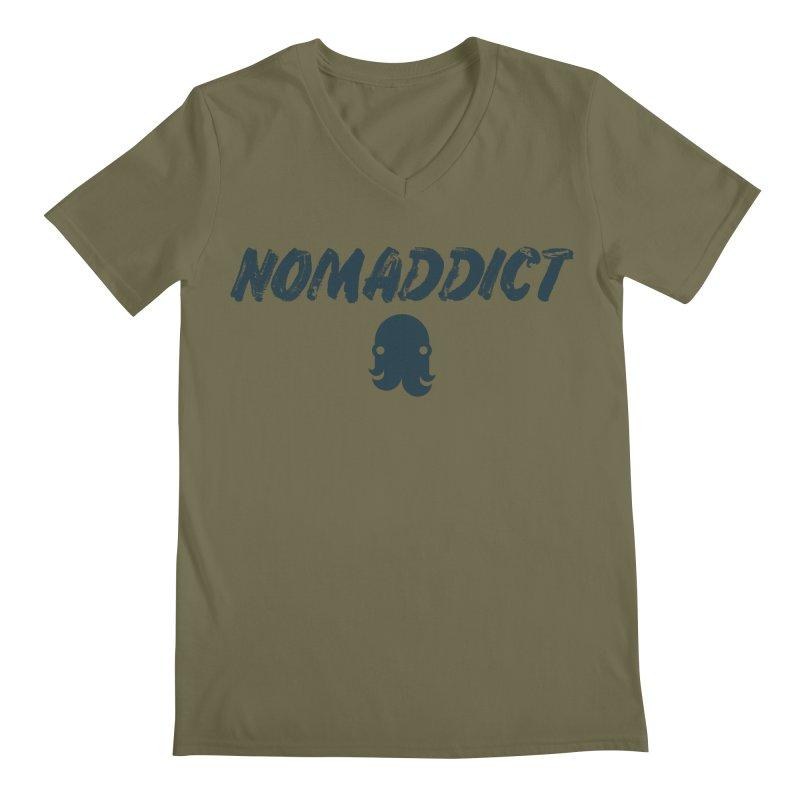 Nomaddict (Navy Text) Men's V-Neck by octopy