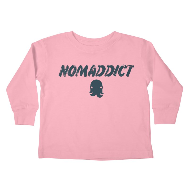Nomaddict (Navy Text) Kids Toddler Longsleeve T-Shirt by octopy