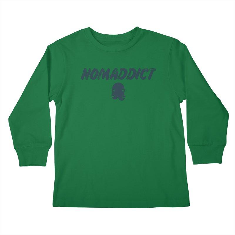 Nomaddict (Navy Text) Kids Longsleeve T-Shirt by octopy