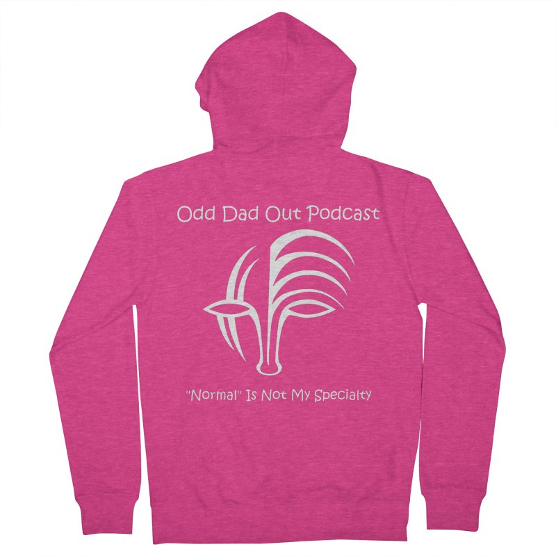 ODO Logo (white) Women's French Terry Zip-Up Hoody by Odd Dad Out Shop