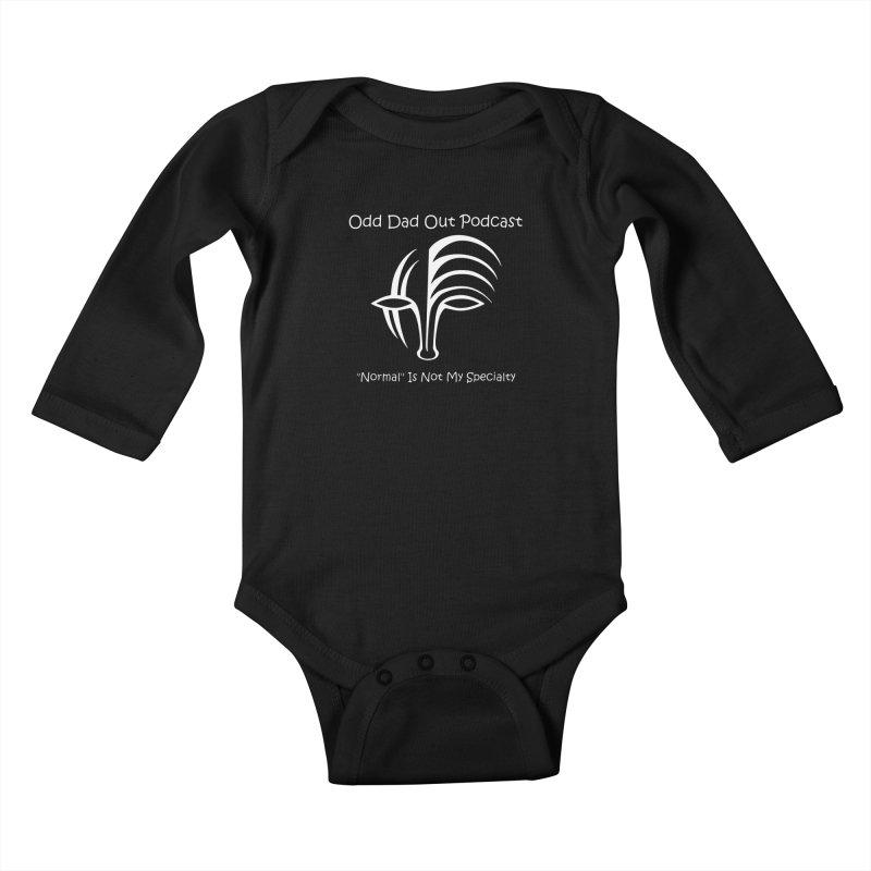 ODO Logo (white) Kids Baby Longsleeve Bodysuit by Odd Dad Out Podcast Gear
