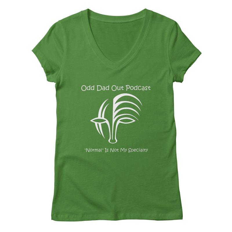 ODO Logo (white) Women's Regular V-Neck by Odd Dad Out Podcast Gear
