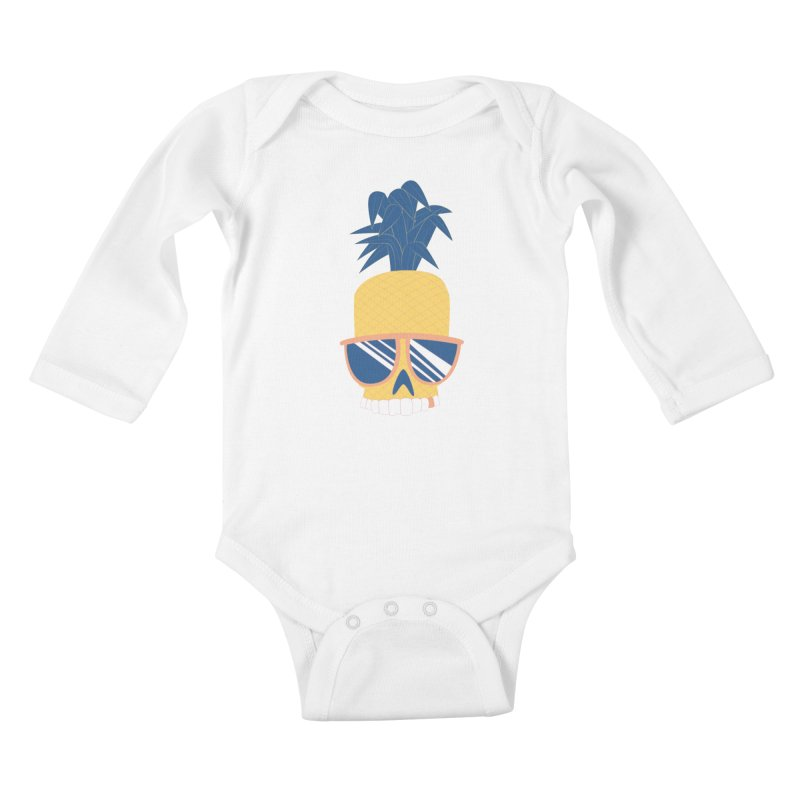 Pineapple Skull w/ sunglasses Kids Baby Longsleeve Bodysuit by Oddesigners's Artist Shop
