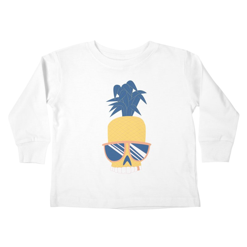 Pineapple Skull w/ sunglasses Kids Toddler Longsleeve T-Shirt by Oddesigners's Artist Shop