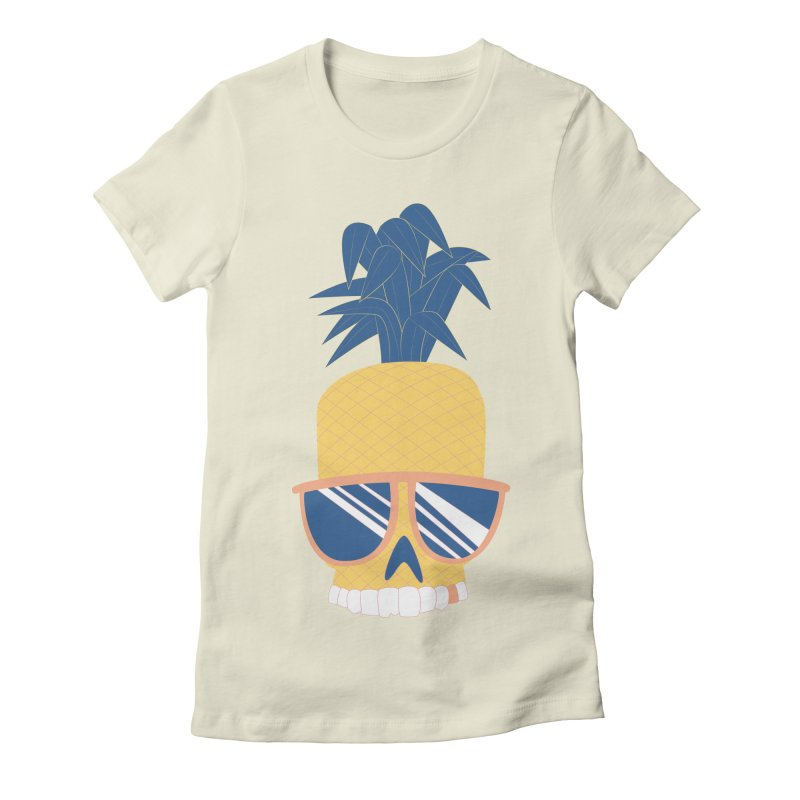 Pineapple Skull w/ sunglasses in Women's Fitted T-Shirt Natural by Oddesigners's Artist Shop