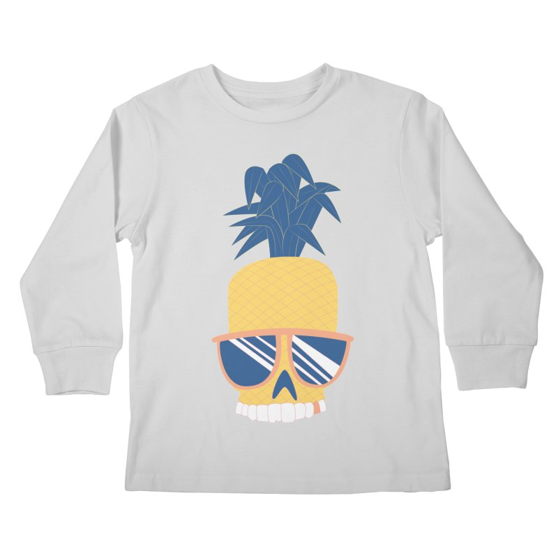 Pineapple Skull w/ sunglasses Kids Longsleeve T-Shirt by Oddesigners's Artist Shop