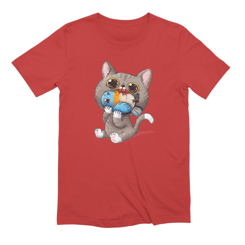 Cat & Bird in Men's Extra Soft T-Shirt Red by Alex Solis Merch Shop