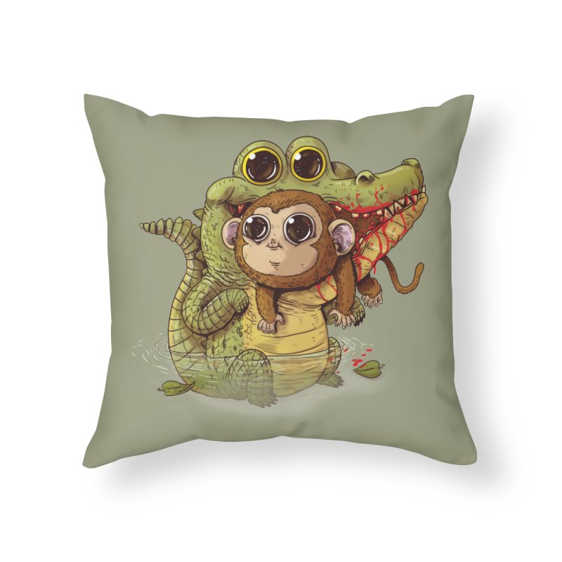 Crocodile & Monkey in Throw Pillow by Alex Solis Merch Shop