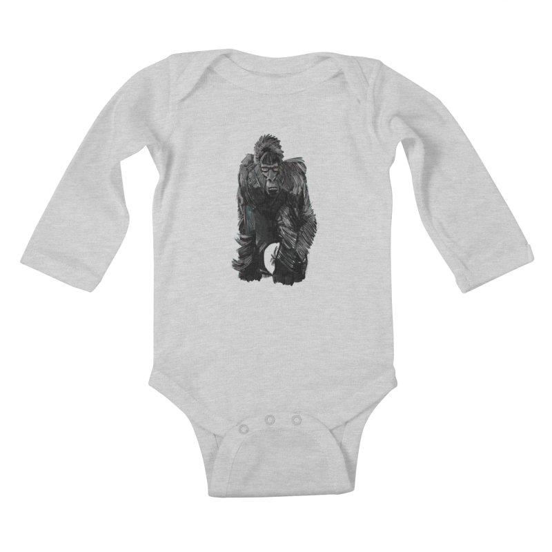Wayfaring gorilla Kids Baby Longsleeve Bodysuit by odiolitos's Artist Shop