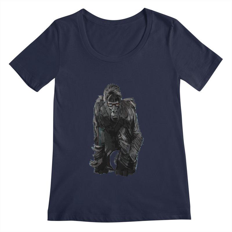 Wayfaring gorilla Women's Scoopneck by odiolitos's Artist Shop