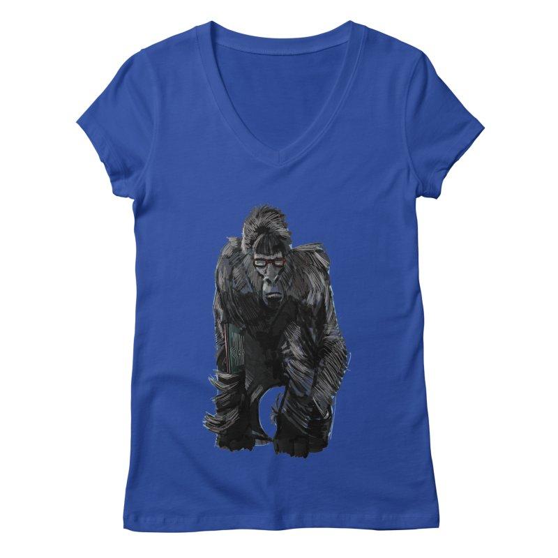 Wayfaring gorilla Women's V-Neck by odiolitos's Artist Shop