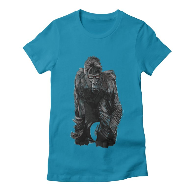 Wayfaring gorilla Women's Fitted T-Shirt by odiolitos's Artist Shop