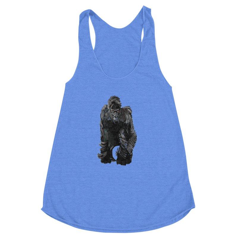 Wayfaring gorilla Women's Racerback Triblend Tank by odiolitos's Artist Shop