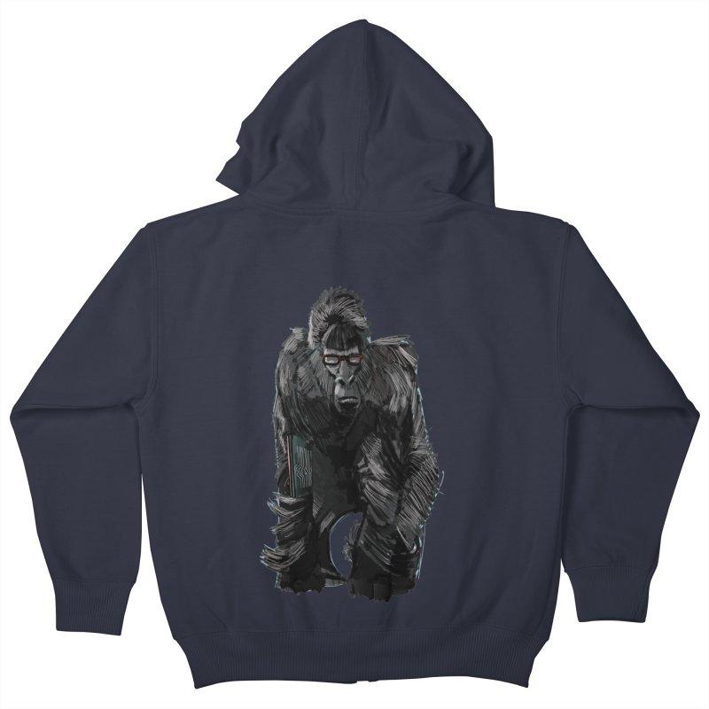 Wayfaring gorilla Kids Zip-Up Hoody by odiolitos's Artist Shop