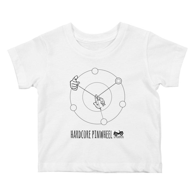 Hardcore Pinwheel, black Kids Baby T-Shirt by OFF-ROAD YOYO