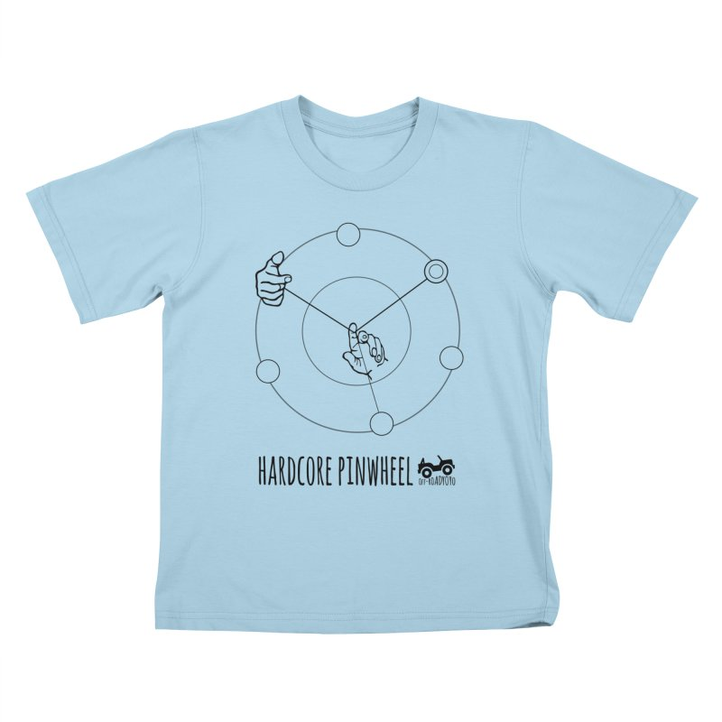 Hardcore Pinwheel, black Kids T-Shirt by OFF-ROAD YOYO