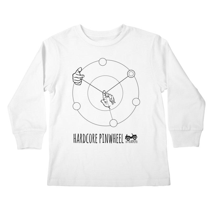 Hardcore Pinwheel, black Kids Longsleeve T-Shirt by OFF-ROAD YOYO