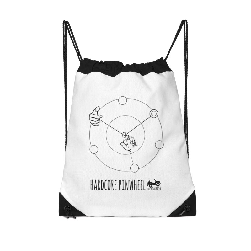 Hardcore Pinwheel, black Accessories Drawstring Bag Bag by OFF-ROAD YOYO