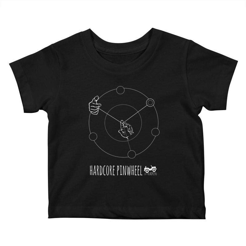 Hardcore Pinwheel, white Kids Baby T-Shirt by OFF-ROAD YOYO