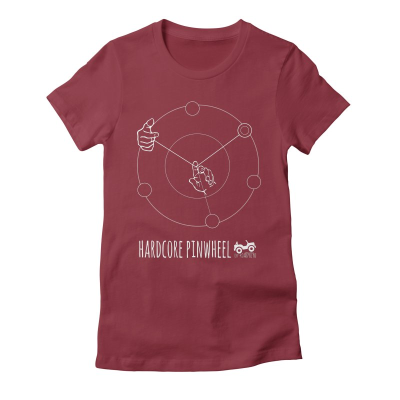 Hardcore Pinwheel, white Women's Fitted T-Shirt by OFF-ROAD YOYO