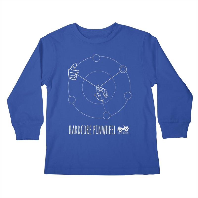 Hardcore Pinwheel, white Kids Longsleeve T-Shirt by OFF-ROAD YOYO