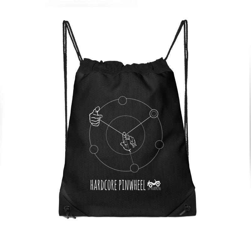 Hardcore Pinwheel, white Accessories Drawstring Bag Bag by OFF-ROAD YOYO
