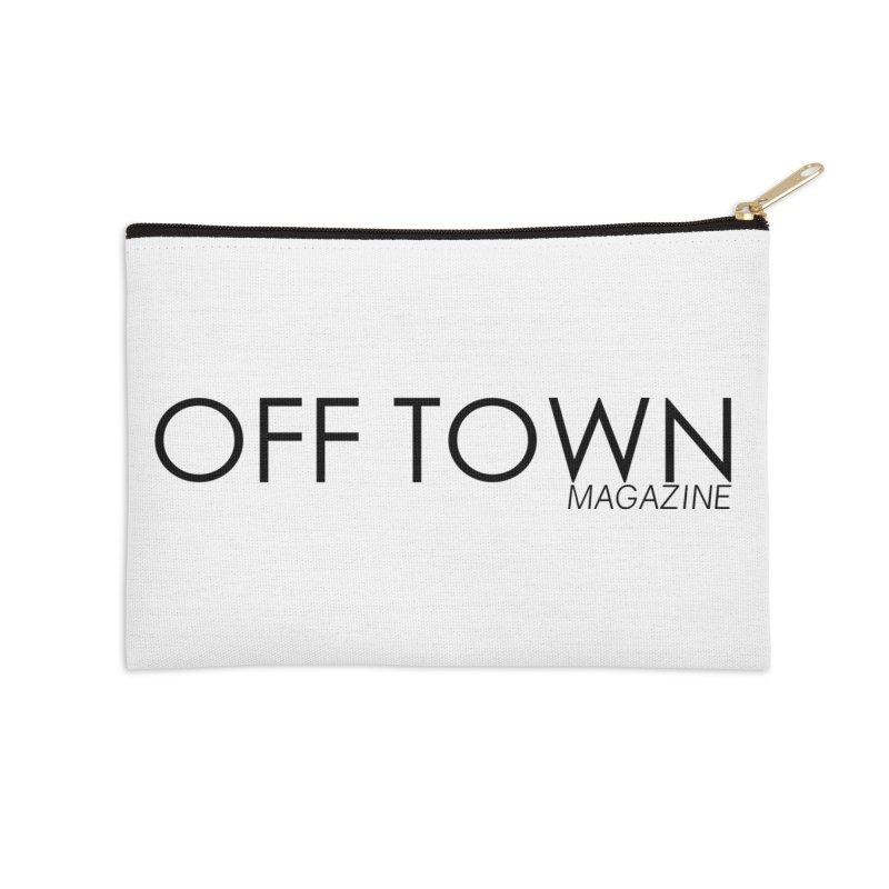 OFF TOWN LOGO BLACK Accessories Zip Pouch by OFF TOWN MAGAZINE