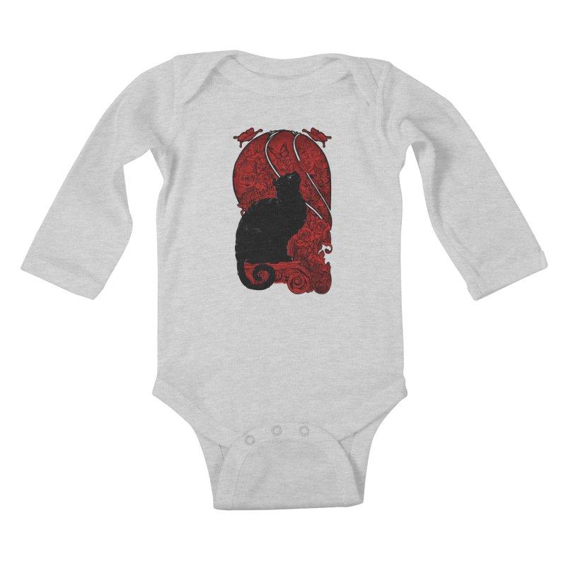 CAT & BUTTERLIES Kids Baby Longsleeve Bodysuit by RGRLV