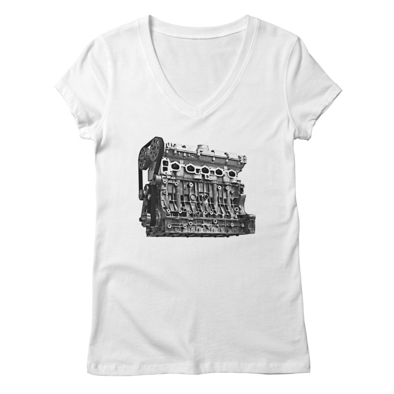 White Block Women's V-Neck by ULTRA EPIC MEGA STOKE RAD