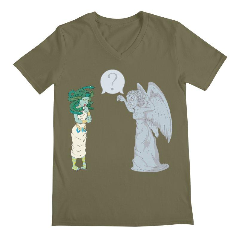 Medusa Vs. Weeping Angel Men's V-Neck by Inspired Human Artist Shop