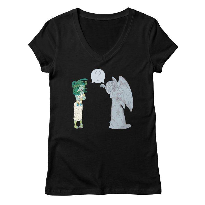 Medusa Vs. Weeping Angel Women's V-Neck by Inspired Human Artist Shop