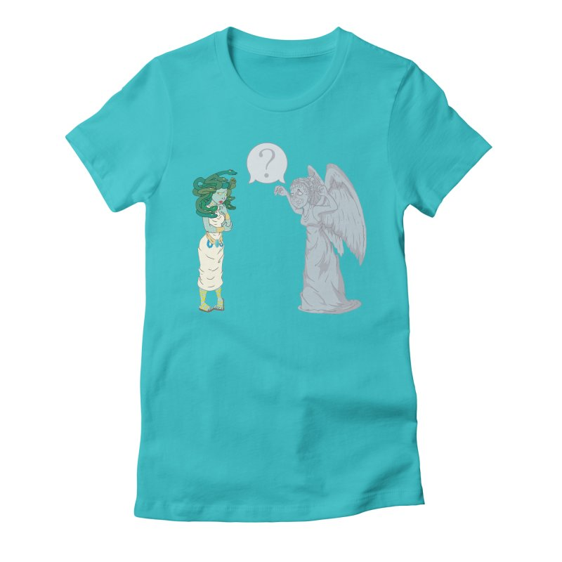 Medusa Vs. Weeping Angel Women's Fitted T-Shirt by Inspired Human Artist Shop