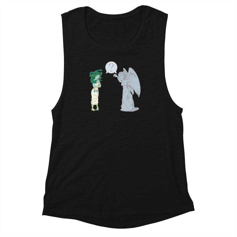 Medusa Vs. Weeping Angel Women's Muscle Tank by Inspired Human Artist Shop